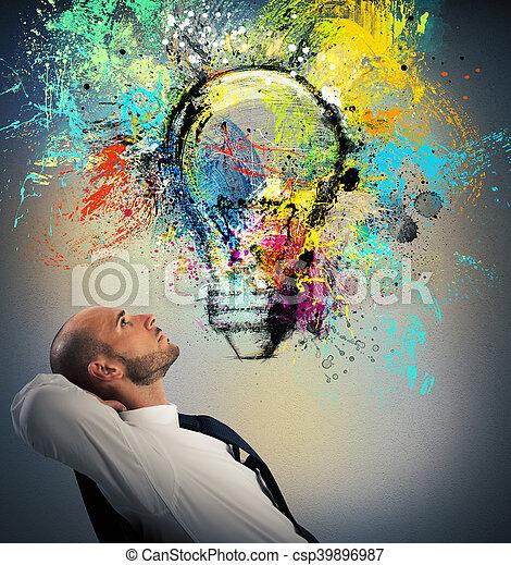 考える, 新しい, ビジネスマン, 考え, 創造的 - csp39896987