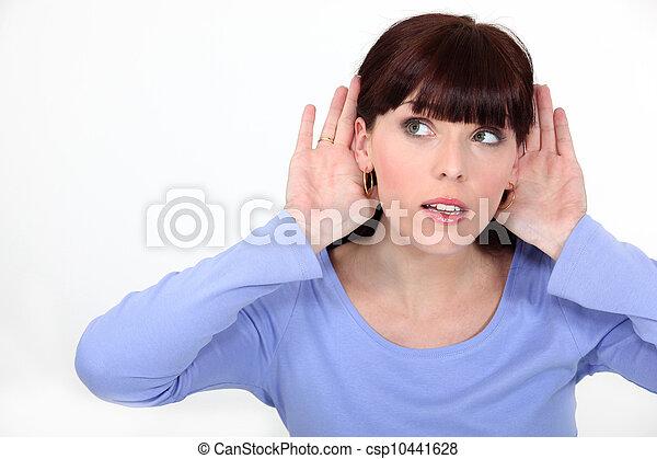 耳, 女, 聞くこと, 彼女, 手 - csp10441628