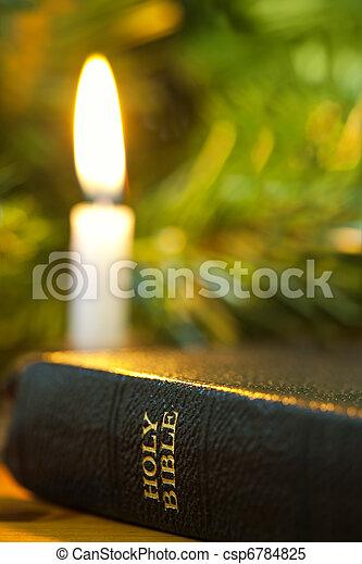 聖書, クリスマス, ろうそく - csp6784825