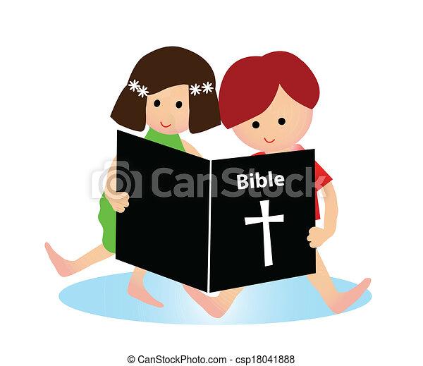 聖書, 読書, 子供 - csp18041888
