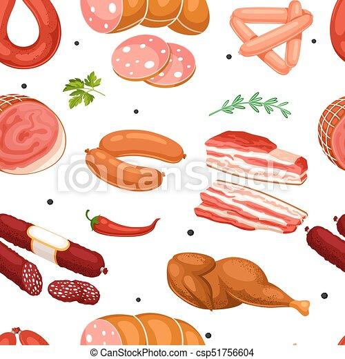 肉 パターン ベーコン Seamless イラスト ソーセージ Products