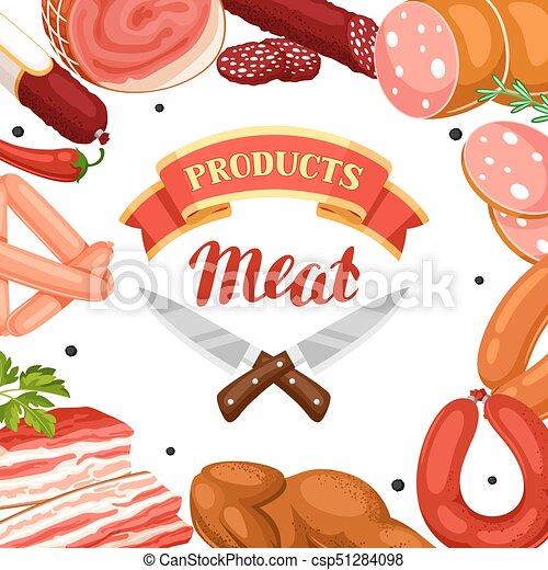 肉 ベーコン イラスト ソーセージ Products 背景 ハム 肉