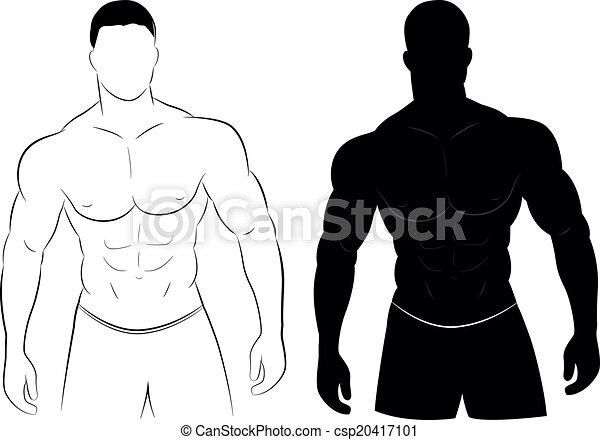 肌肉, 侧面影象, 人 - csp20417101