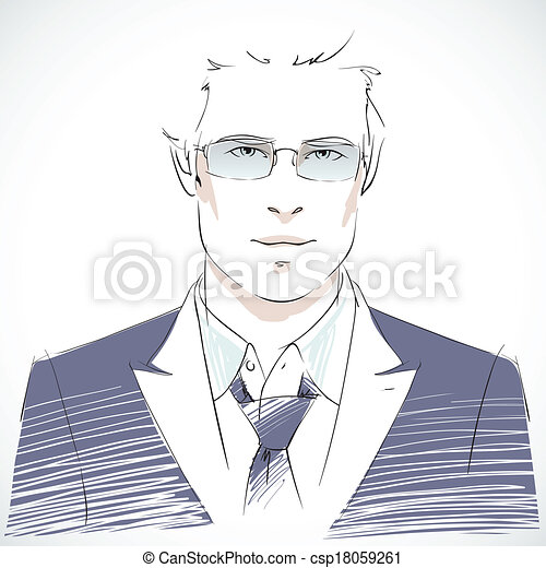 肖像画, ビジネスマン, 若い, 流行 - csp18059261