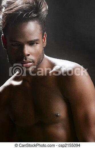 肖像画, 人, アメリカ人, 若い, 黒, アフリカ, かわいい - csp2155094