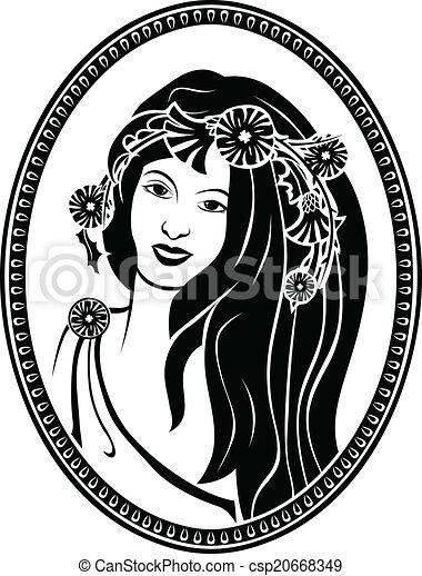 肖像画, 円形浮彫り, ビネット - csp20668349