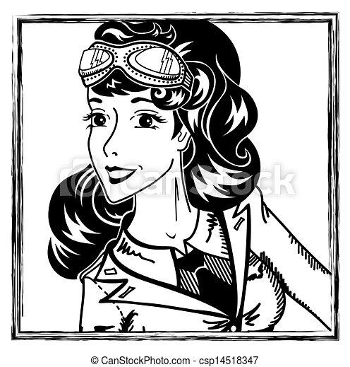 肖像画, 女の子, ピン, 航空学 - csp14518347