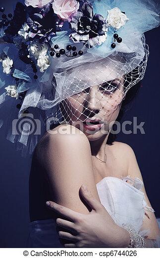 肖像画, 女, かわいい - csp6744026