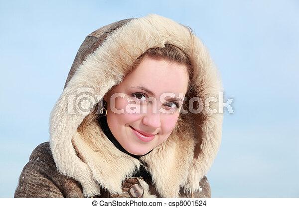 肖像画, 女, 若い, フード - csp8001524