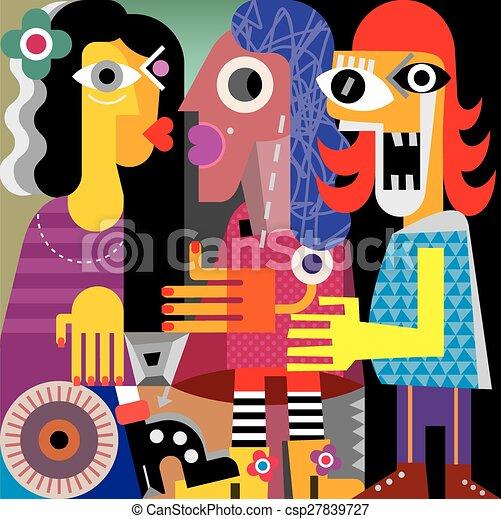 肖像画, 抽象的, 3人の女性たち - csp27839727