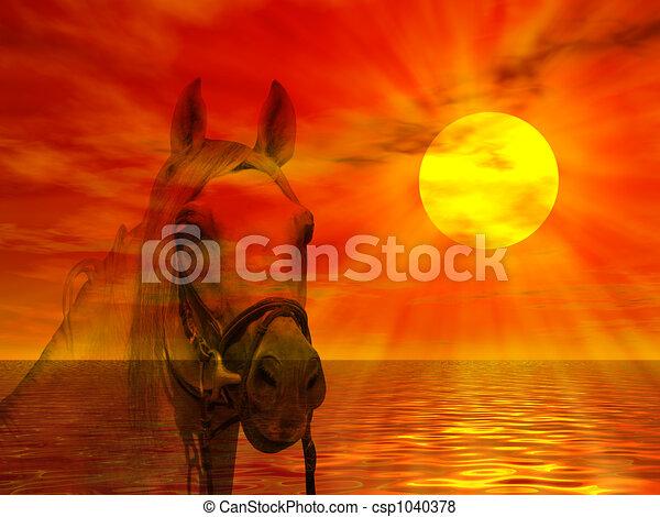 肖像画, 馬, 日没 - csp1040378