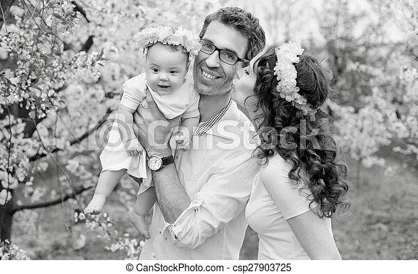 肖像画, black&white, 家族, 幸せ - csp27903725