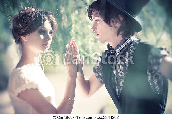 肖像, 夫婦, 年輕, 浪漫 - csp3344202