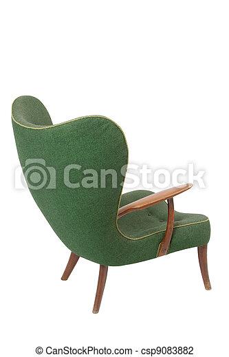 肘掛け椅子, 白, 緑, レトロ, 背景 - csp9083882