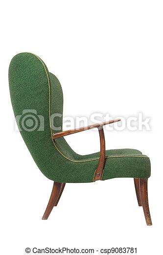 肘掛け椅子, 白, 緑, レトロ, 背景 - csp9083781