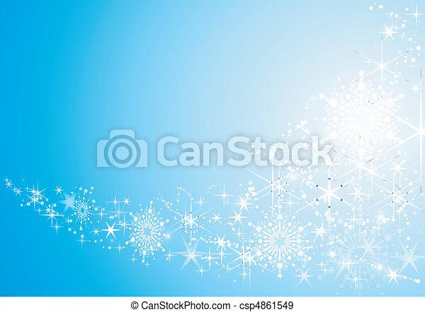 背景, お祝い, 抽象的, 雪, 星, 光沢がある, flakes. - csp4861549