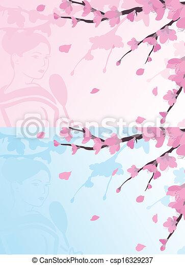 背景, アジア人, sakura - csp16329237