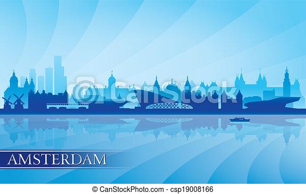 背景, アムステルダム, スカイライン, 都市, シルエット - csp19008166