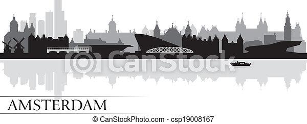 背景, アムステルダム, スカイライン, 都市, シルエット - csp19008167