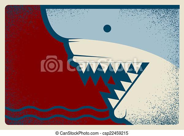 背景, イラスト, デザイン, ポスター, サメ - csp22459215