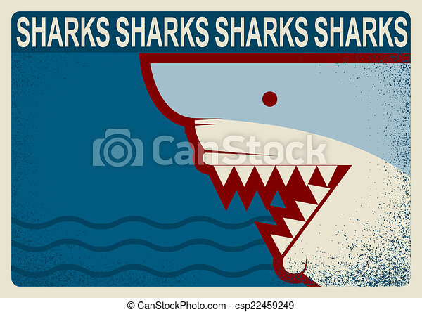 背景, イラスト, poster., ベクトル, デザイン, サメ - csp22459249