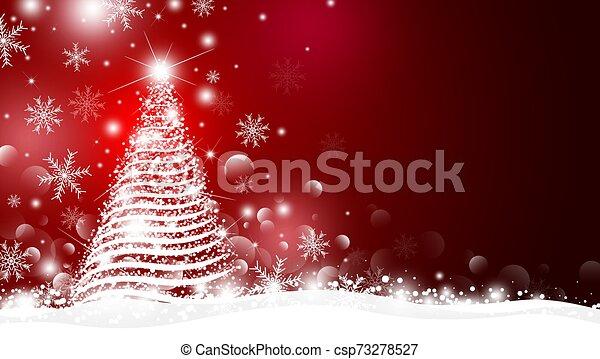 背景, ベクトル, デザイン, 赤, 木, クリスマス, イラスト, ライト, bokeh - csp73278527