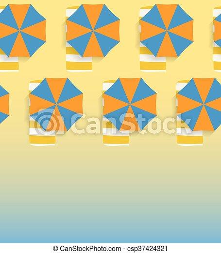 背景, 傘, 浜, seamless, 砂 - csp37424321