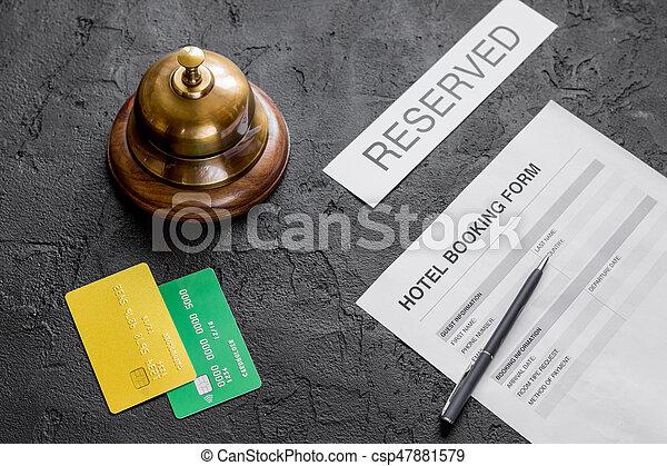 背景, 形態, ホテル, 暗い, 受付, 予約 - csp47881579