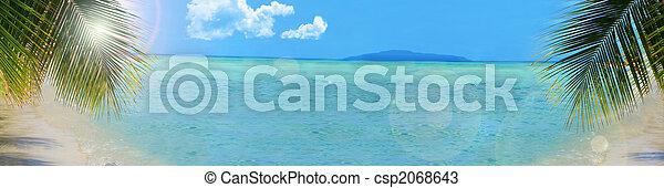 背景, 熱帯 浜, 旗 - csp2068643