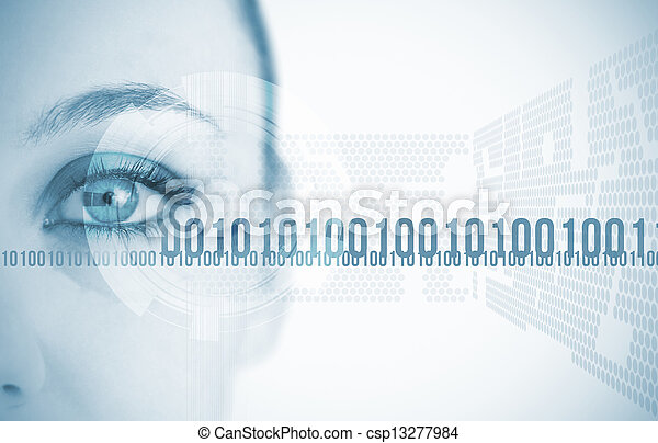 背景, 目, 未来派, 女, クローズアップ - csp13277984