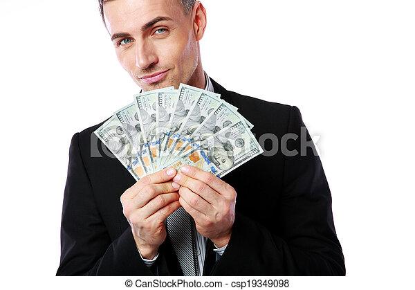背景, 美元, 隔离, 我们, 握住, 商人, 白色, 富有 - csp19349098