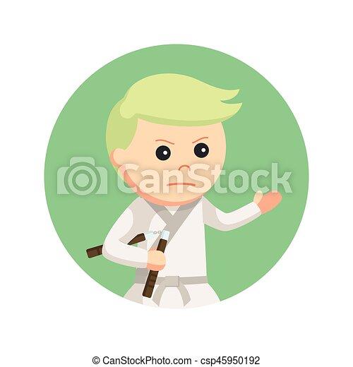 背景, nunchaku, 空手, 保有物, 円, 子供 - csp45950192