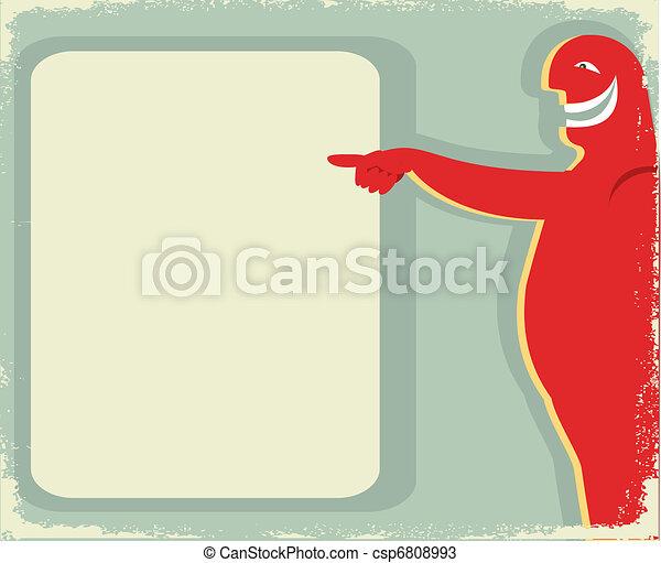 背景, text., 笑い, poster.pointing, 人 - csp6808993