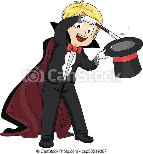 能力を発揮しなさい, 男の子, マジック, 子供 - csp38519807