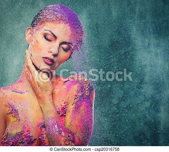 脆弱, 女人身体, 藝術, 生物, 概念性, 人類 - csp20316758
