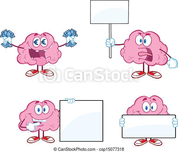 脳, マスコット, 漫画, コレクション, 6 - csp15077318