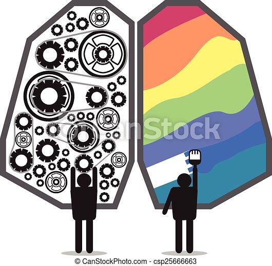 脳, 権利, デザイン, 左 - csp25666663