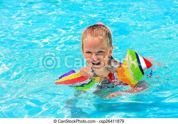 腕章, 水泳, pool., 子供 - csp26411879