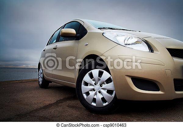 自動車, クローズアップ, front-side, ベージュ - csp9010463