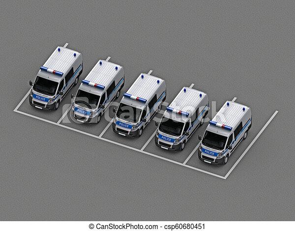 自動車, グループ, 警察, 駐車 - csp60680451