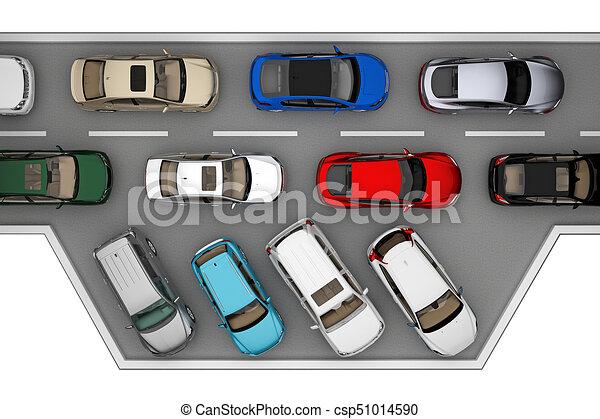 自動車, 上, 交通, 背景, 道, 光景 - csp51014590