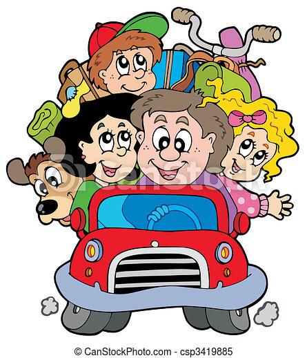 自動車, 休暇, 家族, 幸せ - csp3419885