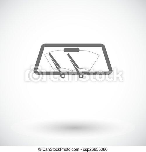 自動車, 単一, ワイパー, icon. - csp26655066