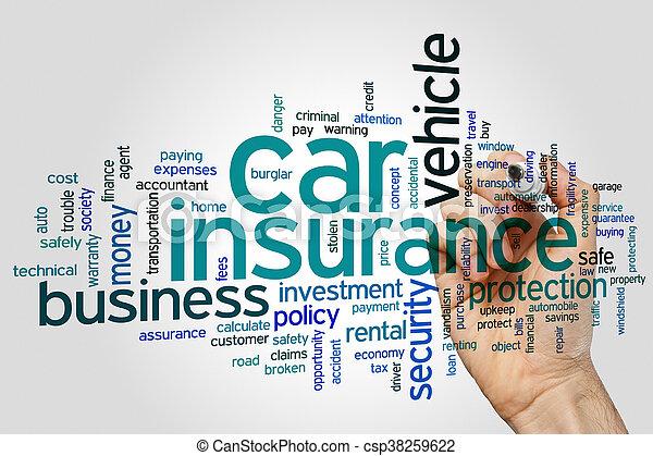 自動車, 単語, 保険, 雲 - csp38259622