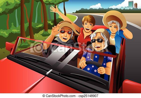 自動車, 年配, 乗馬, 流行, 幸せな女性たち - csp25148907