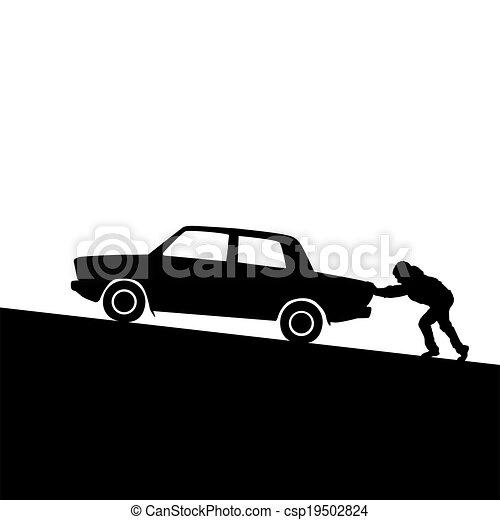 自動車, 押す, シルエット, 人 - csp19502824