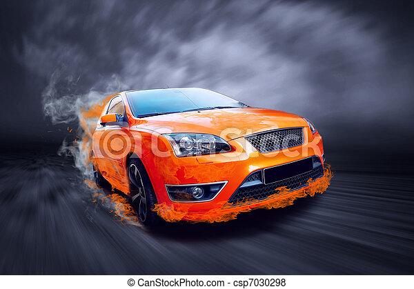 自動車, 火, スポーツ, オレンジ, 美しい - csp7030298
