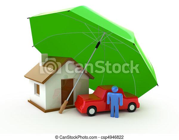 自動車, 生活, 保険, 家 - csp4946822