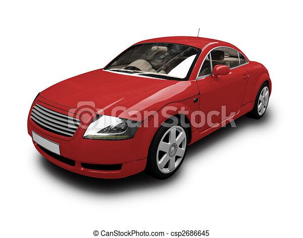 自動車, 隔離された, 光景, 赤, 前部 - csp2686645