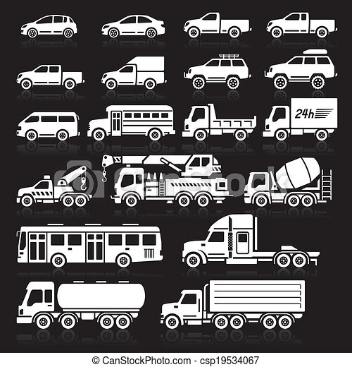 自動車, set., ベクトル, イラスト, アイコン - csp19534067